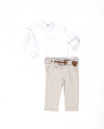 00ae14d42dfc ΣΕΤ ΠΟΥΚΑΜΙΣΟ Μ Μ ΛΕΥΚΟ ΜΕ ΛΙΝΟ ΠΑΝΤΕΛΟΝΙ ΚΑΙ ΖΩΝΗ NATURAL CHIC -  Καλοκαιρινά - Σετ - για Αγόρια - Παιδικά Ρούχα KidsWear
