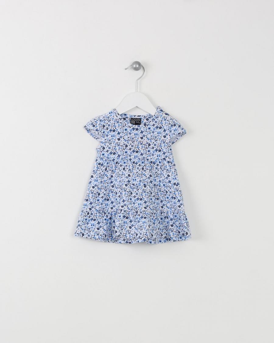 f05ab3c30bd7 ΦΟΡΕΜΑ ΛΕΥΚΟ ΜΕ ΜΠΛΕ ΛΟΥΛΟΥΔΑΚΙΑ-VESTIDO MANGA CORTA PUNTO LISO -  Καλοκαιρινά - Φορέματα και Φούστες - για Κορίτσια - Παιδικά Ρούχα KidsWear